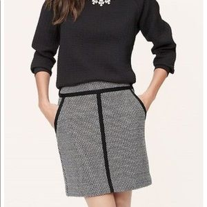 LOFT Black White Tweed Pencil Skirt Black Trim 4